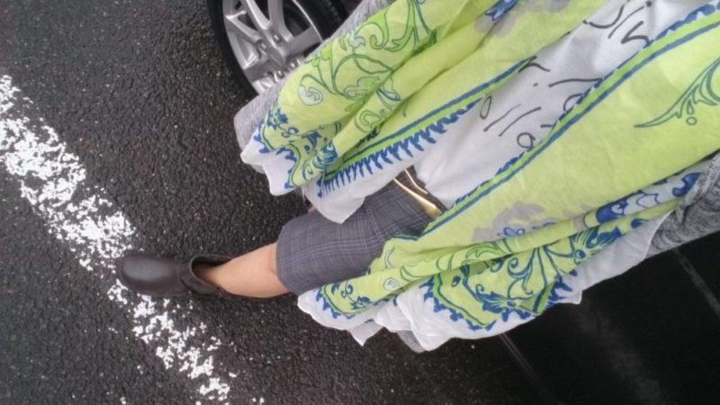 昨日のママコーデ 雨なのでレインブーツ