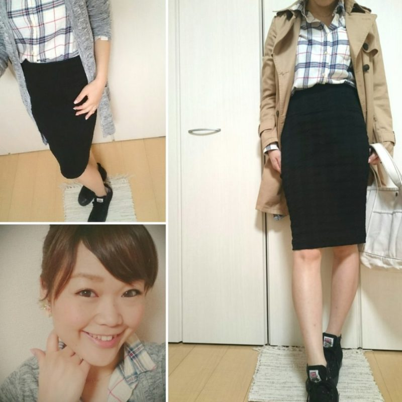 チェックシャツ×タイトスカート×インヒールスニーカー